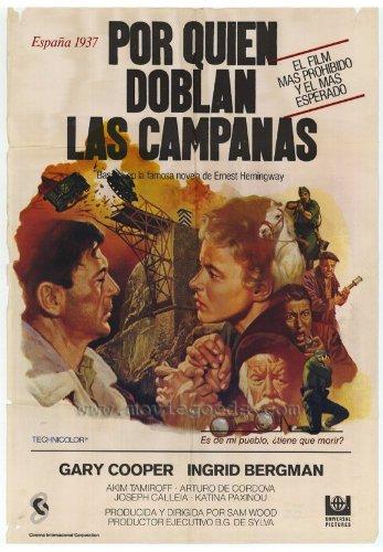 For Whom the Bell Tolls Movie Poster (27 x 40 Inches - 69cm x 102cm) (1943) Foreign - -(Gary Cooper)(Ingrid Bergman)(Akim Tamiroff)(Katina Paxinou)(Arturo de Cordova)(Vladimir Sokoloff)