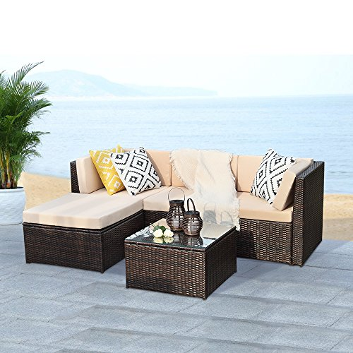 Outdoor Patio Furniture Set,Wisteria Lane 5 PCS Upgrade Garden Rattan Wicker Cushioned Sofa with Coffee Table,Brown
