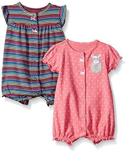 Carter's Baby Girls' 2-Pack Romper,  Heart / Mouse Dot, 12 meses