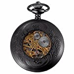 Carrie Hughes Men's Vintage Black Gothic Steampunk Skeleton Mechanical Pocket Watch with Chain Gifts 8