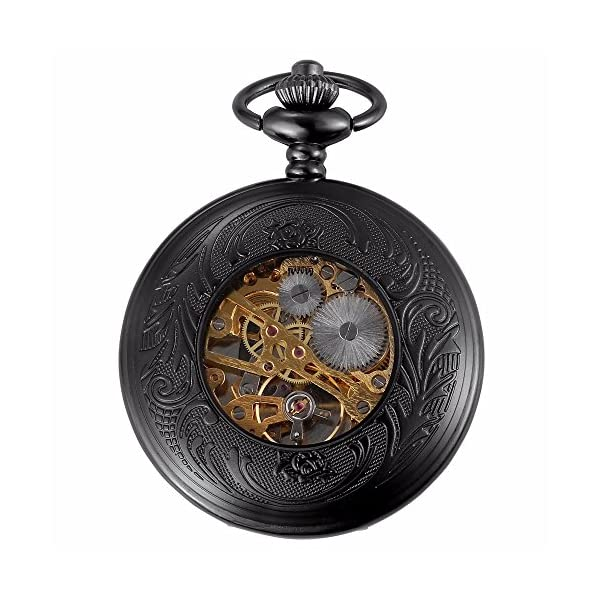 Carrie Hughes Men's Vintage Black Gothic Steampunk Skeleton Mechanical Pocket Watch with Chain Gifts 5