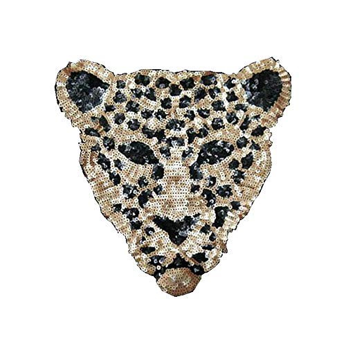 Sequins Patch Leopard Head DIY Clothes Patches for Clothing Sew-on Embroidered Patch Motif Beaded Applique Crafts ()