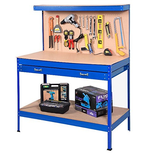Blue Working Bench With Drawer And Peg Board Work Bench Tool Storage Steel Hanging Tool Workshop Table Two Roll Out Drawers Bottom Shelf For Storing Heavy Duty Tools Garage Shop by Auténtico