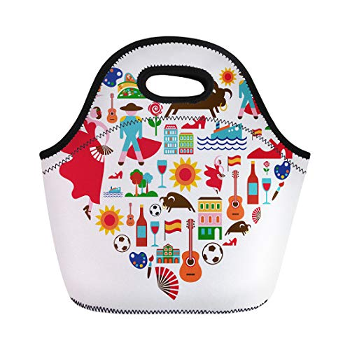 Semtomn Neoprene Lunch Tote Bag Spanish Spain Love Barcelona Travel Flamenco Madrid Guitar Bullfight Reusable Cooler Bags Insulated Thermal Picnic Handbag for Travel,School,Outdoors, Work