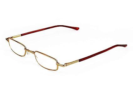 Mini Gafas de Lectura Vista Cansada Presbicia, Graduadas Dioptrías +1.00 hasta +3.50, Gafas de Hombre y Mujer Unisex con Montura Fina, Bisagras ...