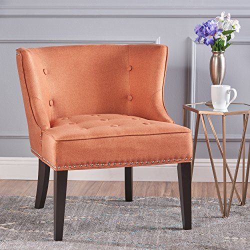- Christopher Knight Home 301259 Aria Occasional Chair | Wing Back | Nail Head Accents | Button Tufted | Corded | Fabric in Orange,