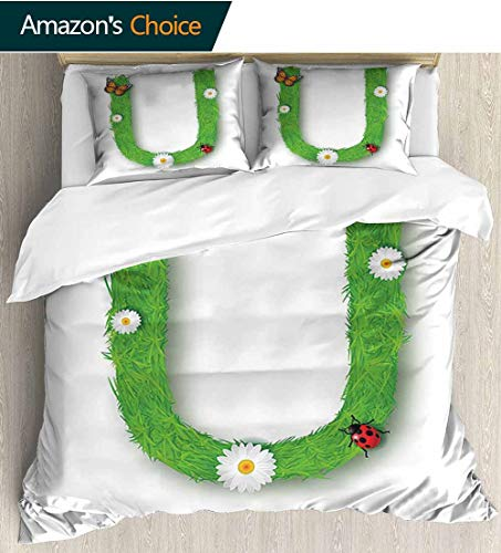 shirlyhome Letter U Full Queen Duvet Cover Sets,Capital U with Daisy Petals Ladybug Garden Blossoms Girls Nursery Theme Bedding Set for Teen 3PCS 104