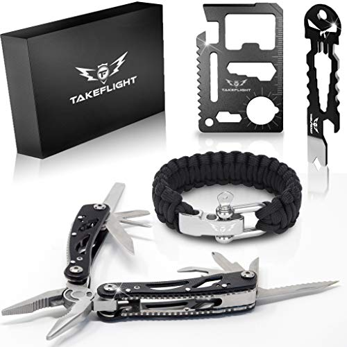 Multi Tool Survival Gear Kit – Birthday Gifts Cool Gadgets for Men | This Tactical Gear EDC Gift Set with Knife, Paracord Bracelet, Credit Card Tool, and More is the Perfect Christmas Stocking Stuff