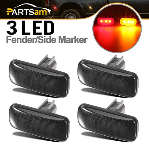 Partsam Dually Bed Front Rear Side Fender Marker LED Lights Replacement for Dodge Ram 3500 2500 2010 2011 2012 2013 2014 2015 2016 2017 10 11 12 13 14 15 16 17 Super Duty Smoke Lens