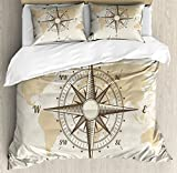 Nautical Queen Size Duvet Cover Set by Lunarable, Compass on World Map with Continents Africa America Antique Adventure, Decorative 3 Piece Bedding Set with 2 Pillow Shams, Beige Tan and Brown
