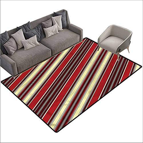 Anti Slip House Kitchen Door Area Rug Striped,Diagonal Retro Line Pattern 80