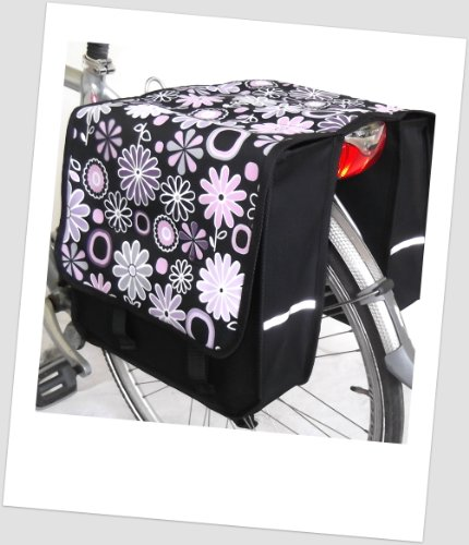 TJ-L-18 Fahrradtasche JENNY LONG Flower PINK Satteltasche Gepäckträgertasche 2 x 14 Liter Blumen PINK