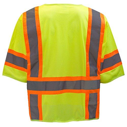 0.25 Height Yellow//Green Large Pioneer V1023560U-L V1023560U Hi-Viz Polyester Sleeved Vests 13.36 Width 22.79 Length