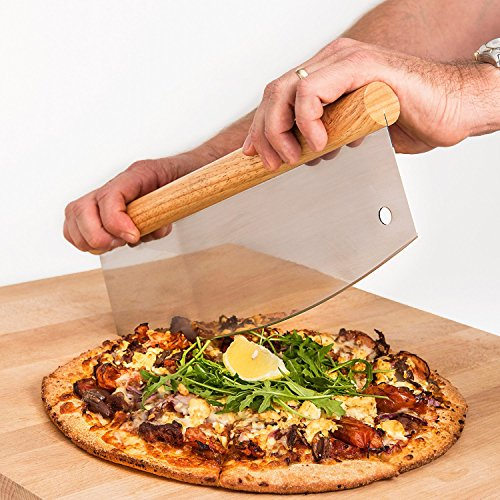 Lorrenzetti Stainless Steel Pizza Cutter With Wooden Handle. 14 Inch Rocker For Home or Commercial Use