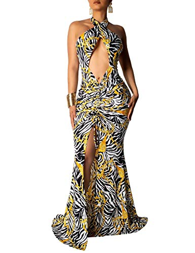 (Women's Split Dress Backless Wrap Hollow Out Hawaiian Floral Party Maxi Dress Black Gold)