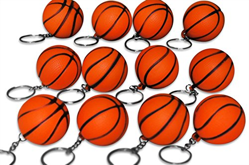 Novel Merk 12 Pack Orange Basketball Keychains for Kids Party Favors & School Carnival Prizes -