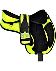 """Ali Leather Store Youth Child & Adult Synthetic Micro Fiber Treeless FREEMAX English Horse Saddle Tack, Get Matching Girth, Straps & Aluminum Stirrups Size 10"""" to 18"""" Inches."""