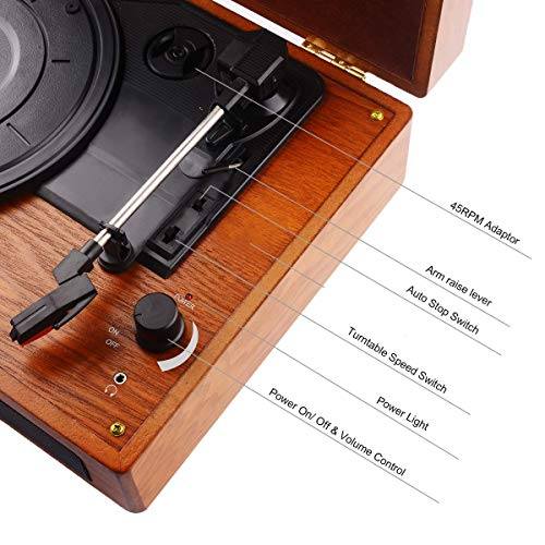 JORLAI Vinyl Record Player, 3 Speed Suitcase Turntable with Built-in Speakers, PC Recorder, Headphone Jack, RCA line Out - Wood … by JORLAI (Image #1)