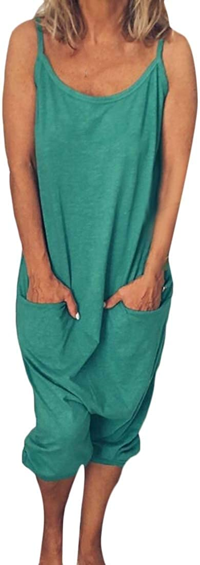 Sweatwater Womens Crew Neck Sleeveless Relaxed Harem Rompers Jumpsuit with Pockets