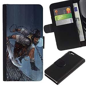 YiPhone /// Tirón de la caja Cartera de cuero con ranuras para tarjetas - ASIÁTICO GUERRERO HOMBRE - Apple Iphone 6