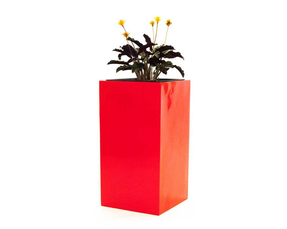 Pflanzkübel Blumenkübel Blumentopf Fiberglas Säule LxBxH 38x38x100cm hochglanz rot