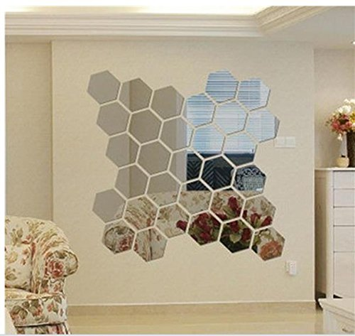ITTA 32pcs Large 3D Acrylic DIY Wall Decorative Self-adhesive Mirror Wall Stickers Geometric Hexagon Wall Mural Home Decor Wedding Room Decor (63mm - Mirror Large Hexagon