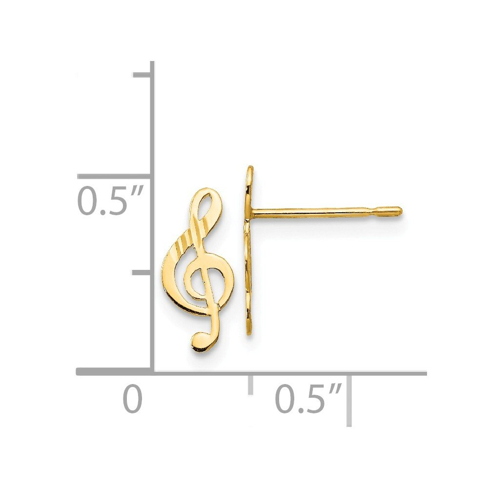 14kt Yellow Gold Madi K D//C Childrens Music Note Post Earrings