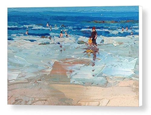 Abstract Coast Beach with People Canvas Wall Art Prints Modern Seascape Home Decoration Ocean Office Decor Sea Artwork Christmas Gifts Men Women from Original Oil Painting of Agostino Veroni