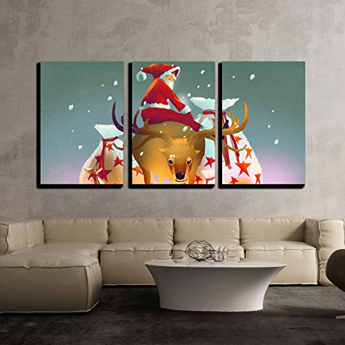 3 Piece Canvas Wall Art - Illustration - Santa Claus Sitting