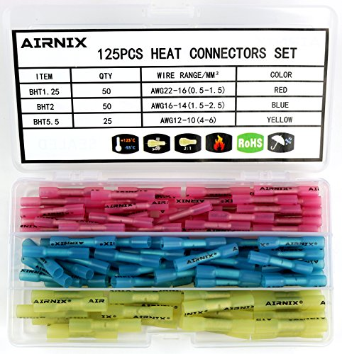 Braided Heat Tape (AIRNIX 125pcs Heat Shrink Butt Connectors Terminals, Heat Shrinkable Butt Connectors, Water and Vibration Proof, Corrosion Free, Gauge Range(22-10 AWG) for Industrial Applications)