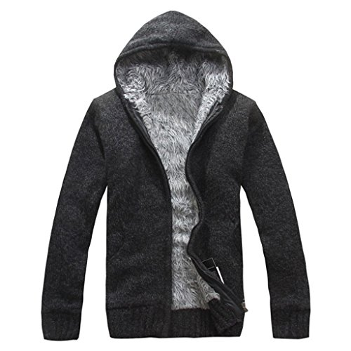 YISUMEI Men's Adult Full-Zip Hooded Sweatshirt Thick Sweaters Black