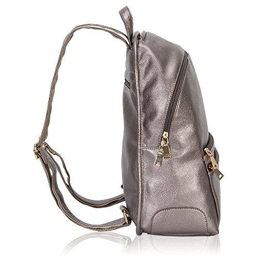 Women Multi Dark Veevan Backpack Synthetic Silver Leather Silver Pockets Plain Dark xqwwpXa