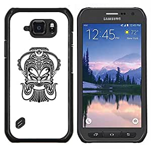 Caucho caso de Shell duro de la cubierta de accesorios de protección BY RAYDREAMMM - Samsung Galaxy S6Active Active G890A - Tinta Arte Negro Blanco Tatuaje