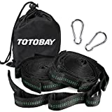 TOTOBAY Hammock Tree Straps 2 of set Outdoor Tree Straps Kit two 10 FT Long Holds 2000+lbs with 2 Heavy Duty Carabiners Hook and 16 Loops Safe&Waterproof Perfect For Swings, Hammocks & Anything Else …
