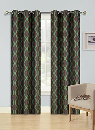 GorgeousHomeLinen (F'S) 1 Panel 2 Tone Printed Design Room Darkening Thermal Blackout Window Curtain 63″ or 84″ Long, 3 Different Designs (84″ Length, Hope-Green)