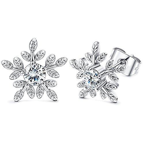 Hanpabum Round CZ Snow Stud Earrings For Women Girls Shiny Winter Snowflake Flower Earrings White Gold Plated (Earrings Snowflake Winter)
