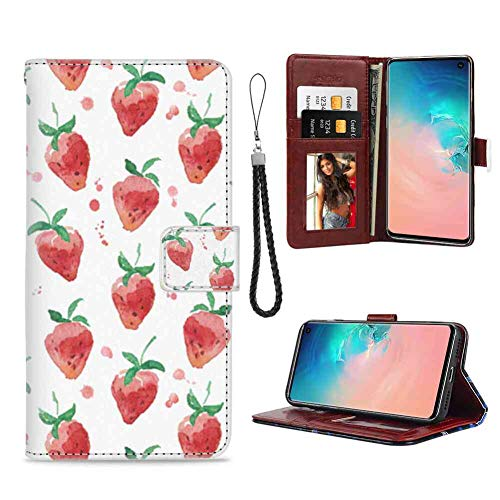 Wallet Case for Galaxy S10 (2019) (6.1 Inch) Red Strawberry Leather ()