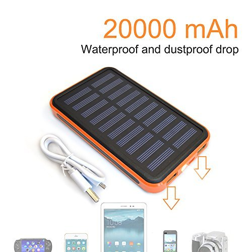 Solar Charger Power 20000mAh Outdoor Portable Charger Solar Power Bank Dual USB External Battery Pack Power Pack with Flashlight (IPX4 Waterproof, Dustproof, Solar Panel Charging, DC5V/2A Input)