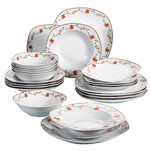 (VEWEET 24-Piece Ceramic Dinnerware Set Decal Patterns Pottery Plate Sets with Dinner Plate, Soup Plate, Dessert Plate, Bowl, Service for 6 (GLORIA Series))