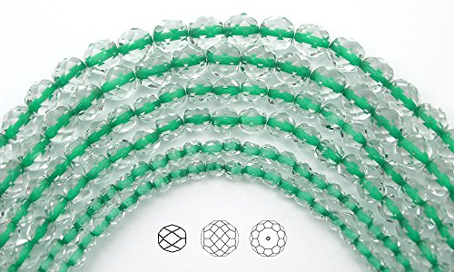 4mm (102pcs) Clear Crystal Green Lined, Czech Fire Polished Round Faceted Glass Beads, 16 inch strand