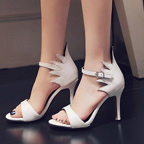TAOFFEN Sommer Schuhe Toe Weiß Absatzsandalen Open Damenmode qTzrFq