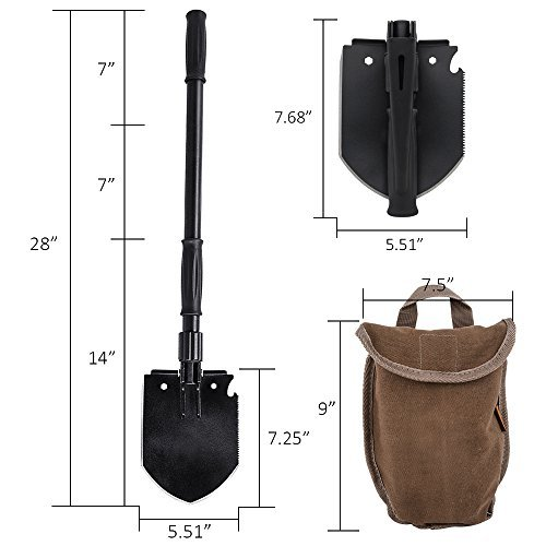 Wolfwill Multifunctional Military Folding Shovel Tool Kit w/ Carry Bag Outdoor Camping Hiking Fishing Gardening Essentials Survival Car Emergency