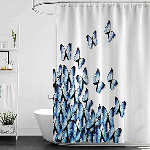 shower curtains navy blue Butterflies Decoration Collection,Butterflies Bottom Left Corner Flying Tropical Vibrant Color Monarch Wings Image,Blue Black W48