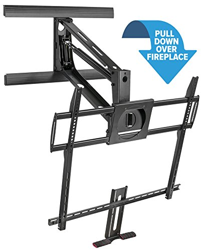 Mount-It! Fireplace TV Mount, Heavy Duty Mantel TV Mount Pull Down Mounting Bracket With Height Adjustment, Fits 50-100 Inch TVs Black