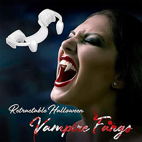 Retractable Vampires Fangs Adult , Halloween Party Cosplay Props White Horror False Teeth Props Party Favors Dress Up Accessories