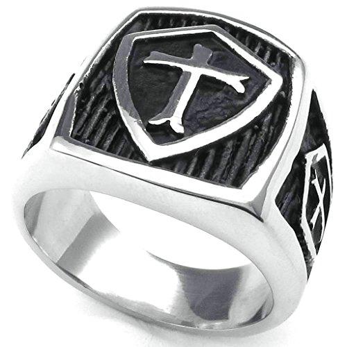 Daesar Stainless Steel Rings Wedding Bands Shield Cross Rings Silver Black Ring for Men - Birmingham Macys
