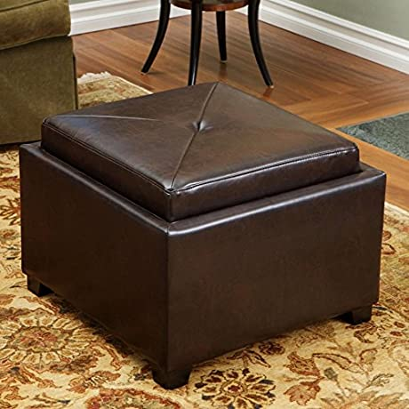 Best Selling Amy Leather Tray Top Storage Ottoman Brown