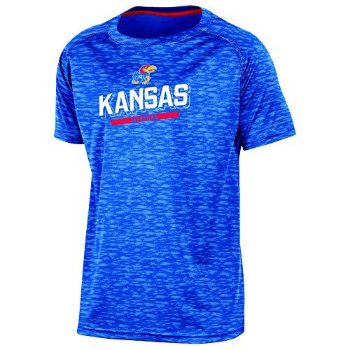 (Champion NCAA Kansas Jayhawks Youth Boys Short Sleeve Crew Neck RA Tee, Medium, Blue)