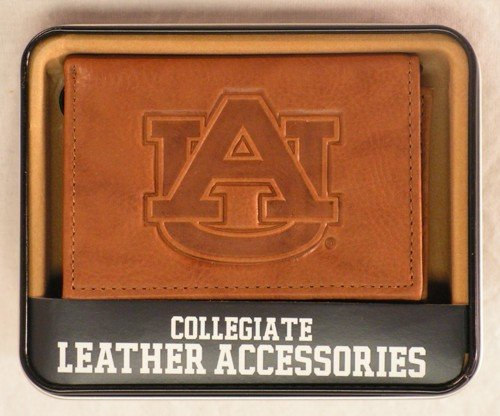 Rico Industries NCAA Auburn Tigers Embossed Leather Trifold Wallet, Tan ()