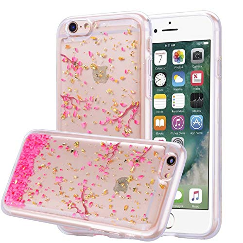 Ranyi iPhone 6S Plus Case, iPhone 6 Plus Case, Glitter Diamond Rhinestone Floral Flower Crystal Clear Transparent Resilient TPU Rubber Shock Absorbing Slim Case for 5.5